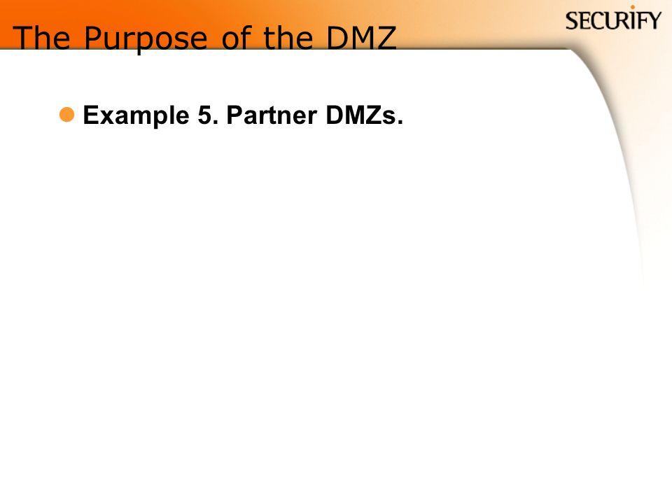 The Purpose of the DMZ Example 5. Partner DMZs.