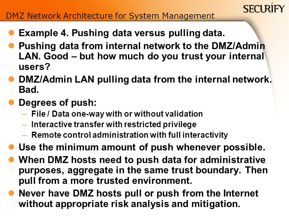 DMZ Network Architecture for System Management