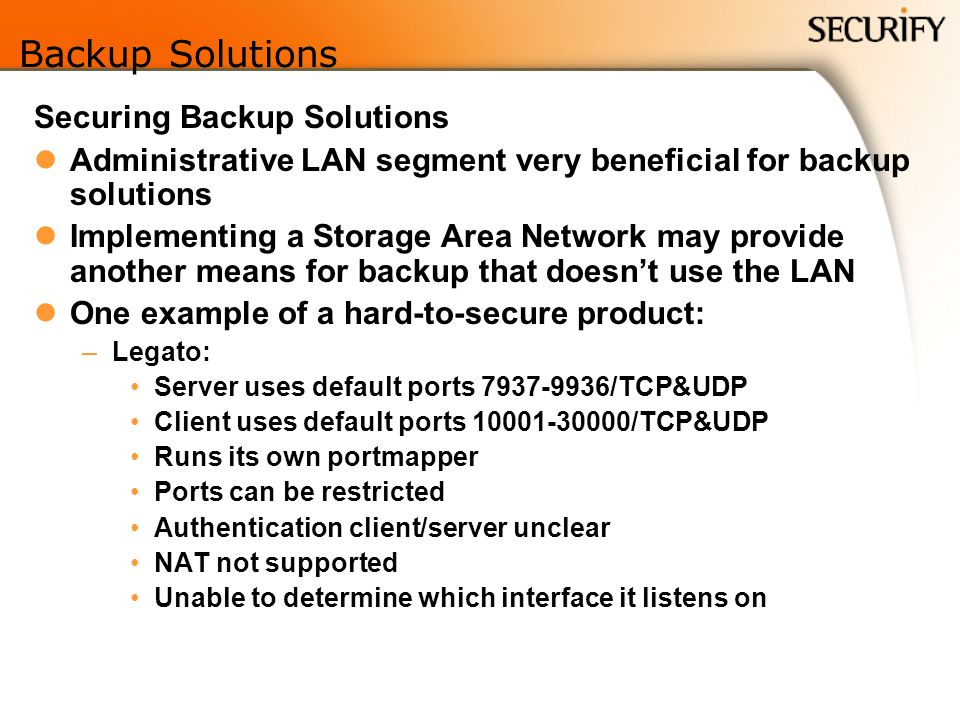 Backup Solutions Securing Backup Solutions