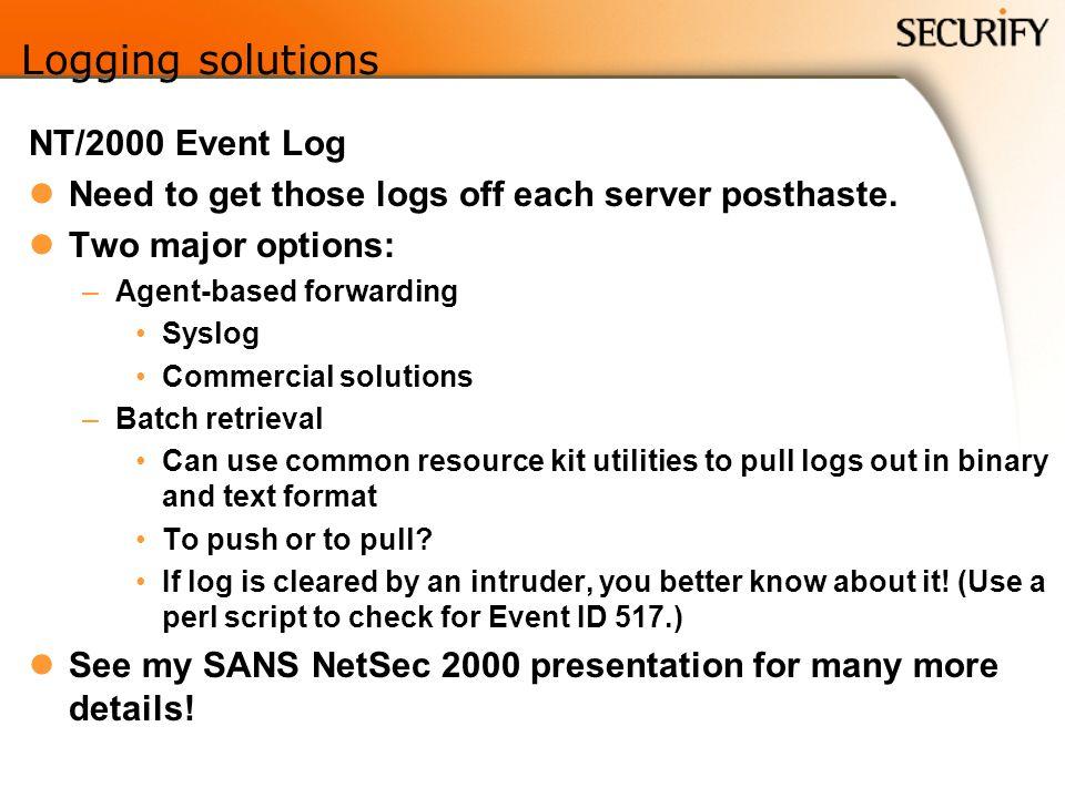 Logging solutions NT/2000 Event Log