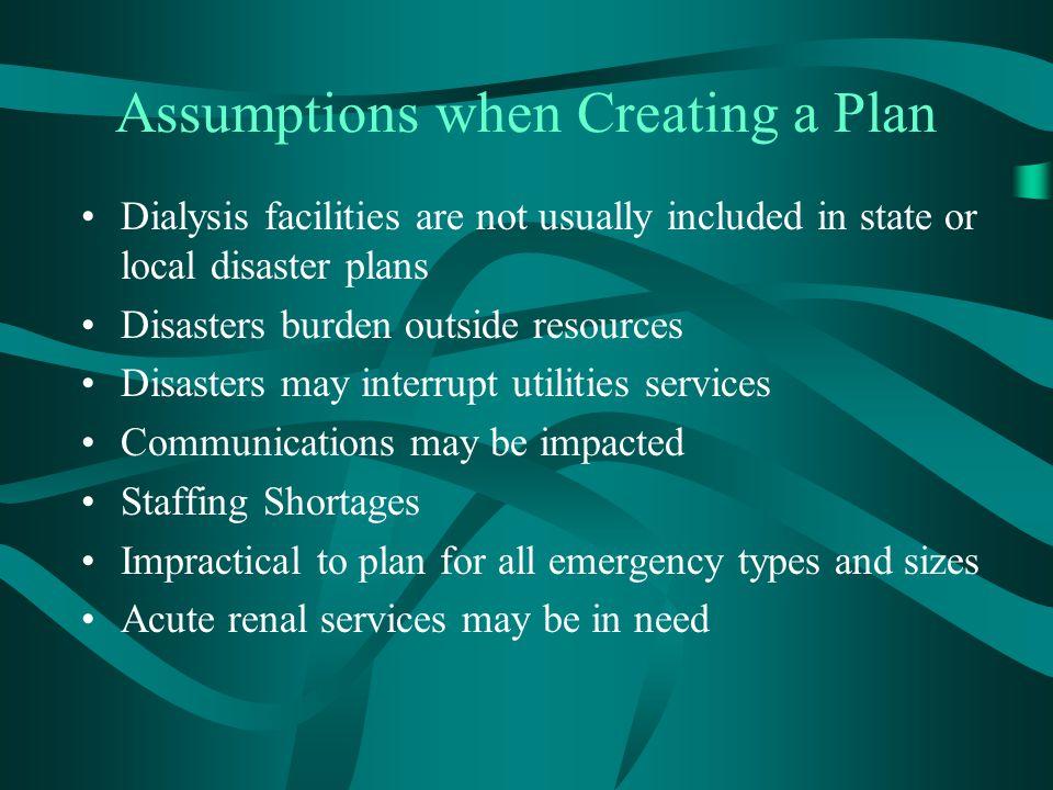 Assumptions when Creating a Plan
