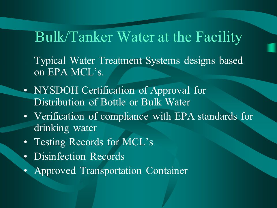 Bulk/Tanker Water at the Facility