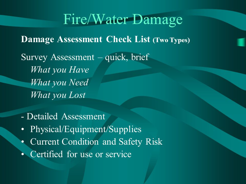 Fire/Water Damage Damage Assessment Check List (Two Types)