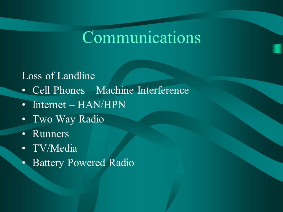 Communications Loss of Landline Cell Phones – Machine Interference