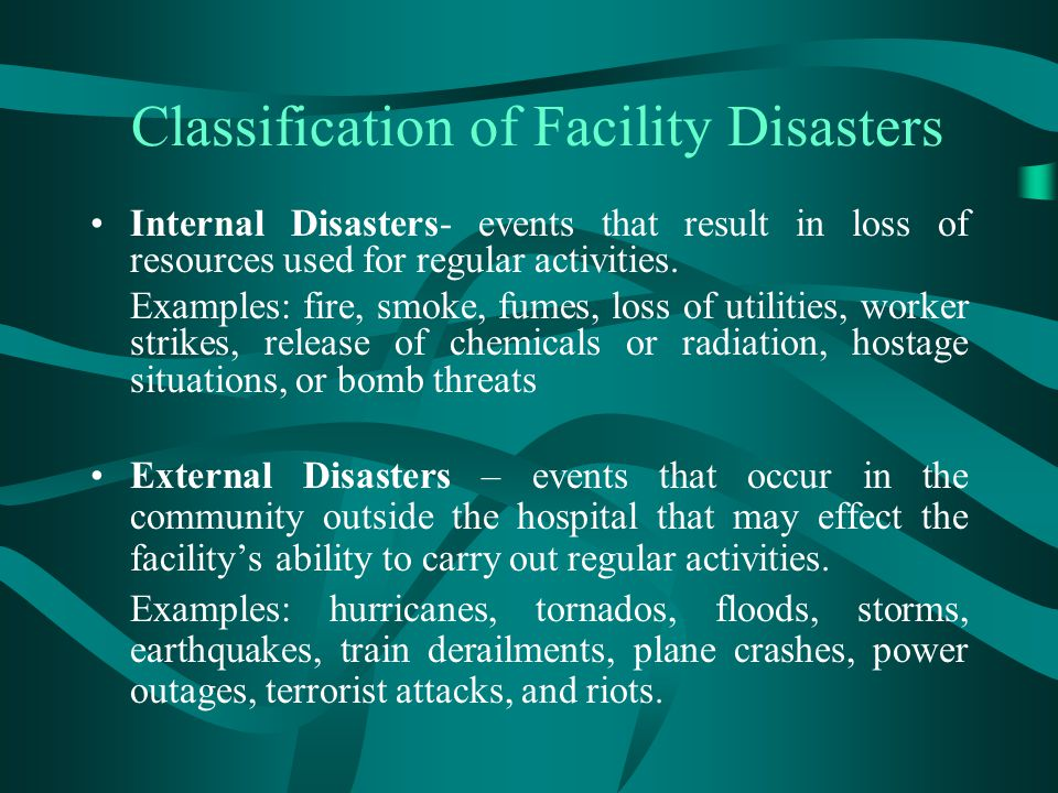 Classification of Facility Disasters