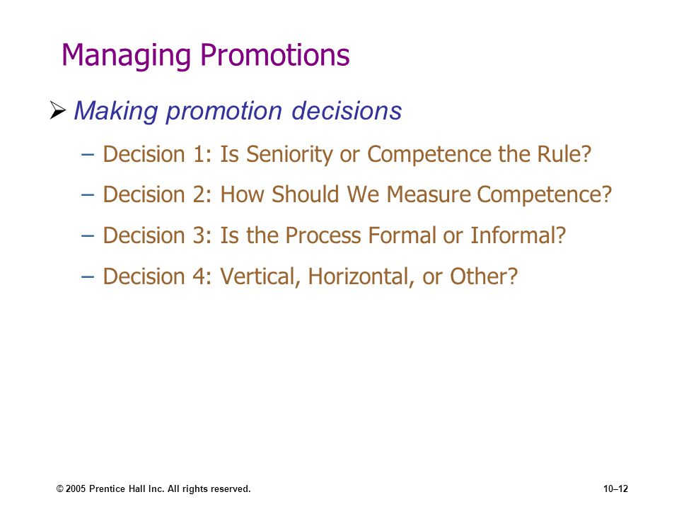 Managing Promotions Making promotion decisions