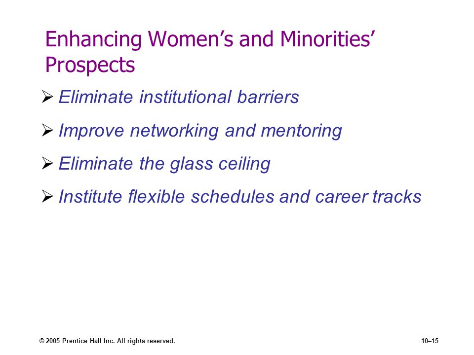Enhancing Women's and Minorities' Prospects