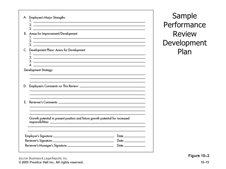 Sample Performance Review Development Plan