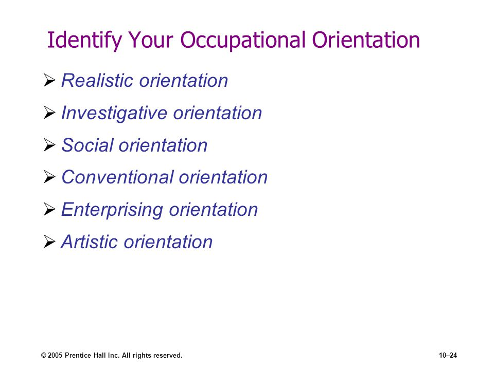 Identify Your Occupational Orientation