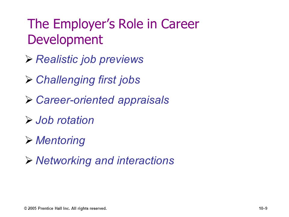 The Employer's Role in Career Development