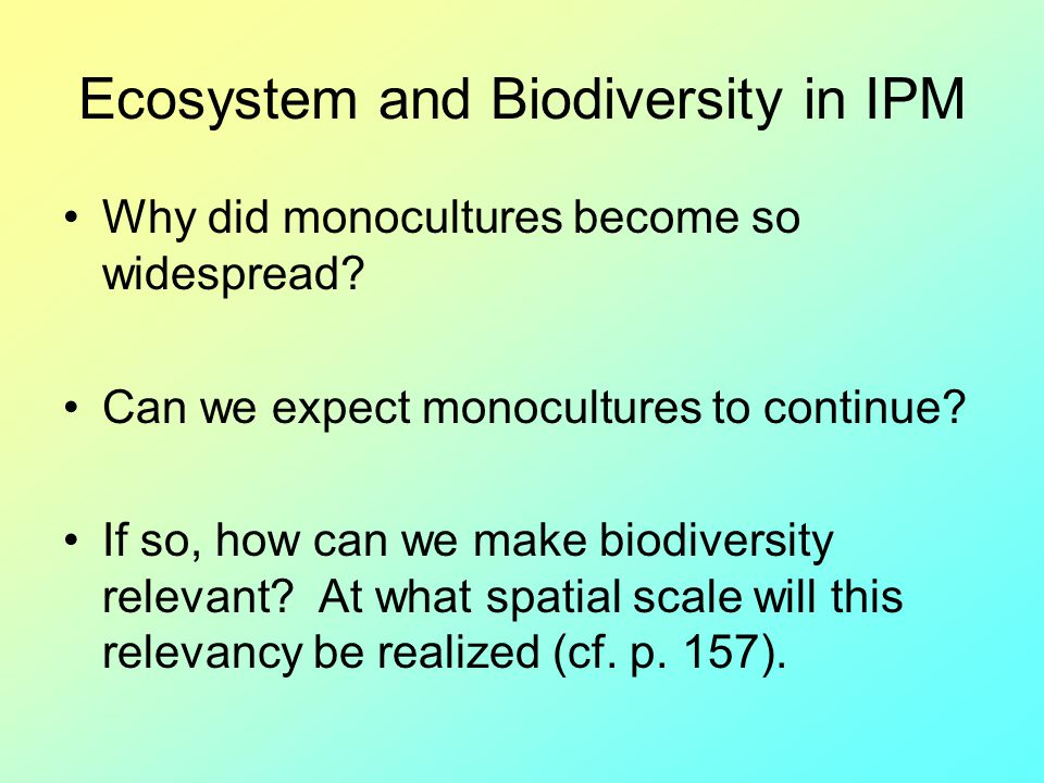 Ecosystem and Biodiversity in IPM