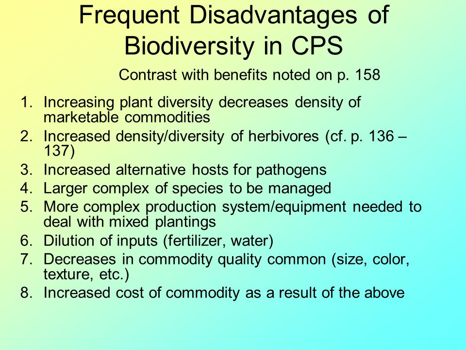 Frequent Disadvantages of Biodiversity in CPS