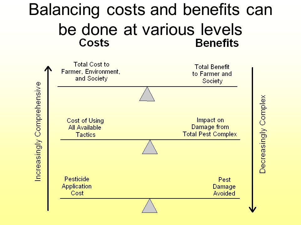 Balancing costs and benefits can be done at various levels