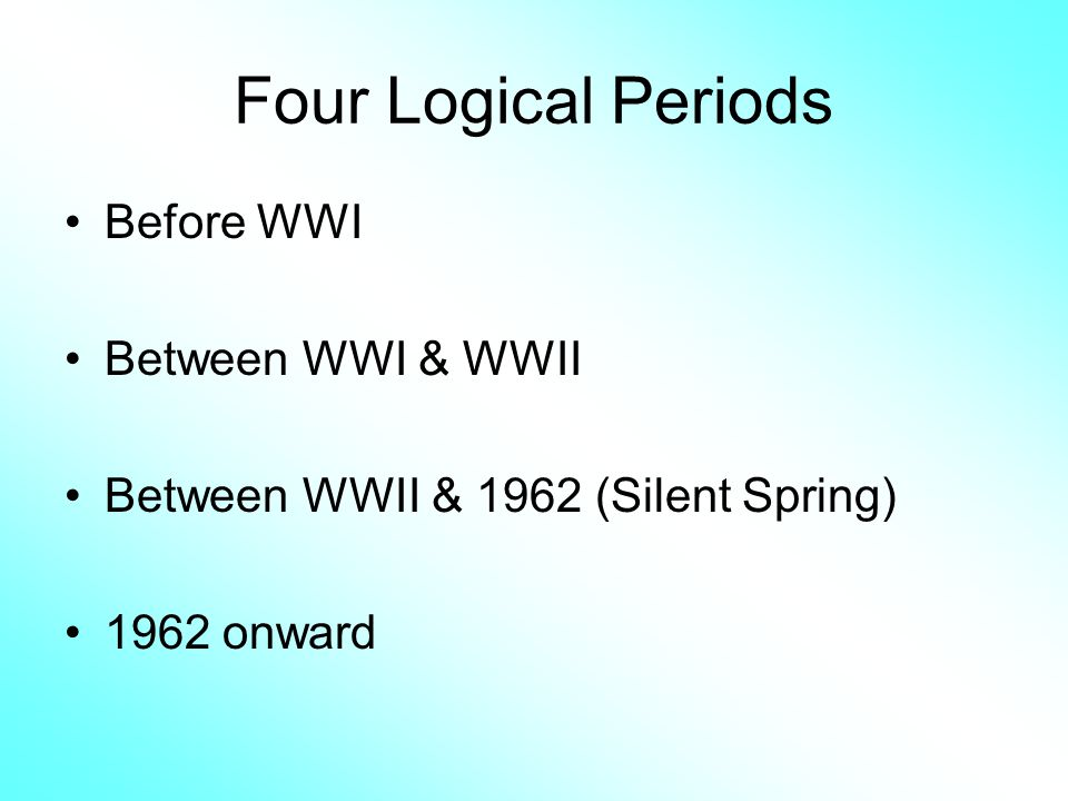 Four Logical Periods Before WWI Between WWI & WWII