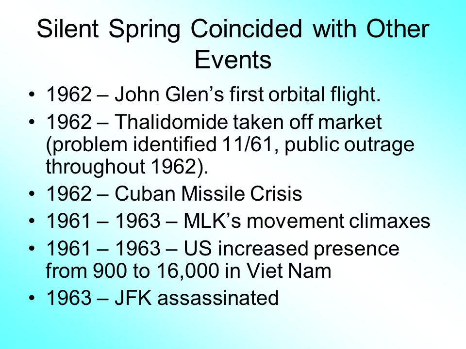 Silent Spring Coincided with Other Events