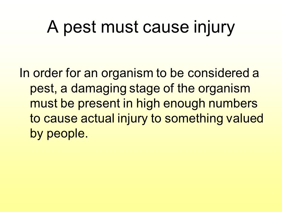 A pest must cause injury