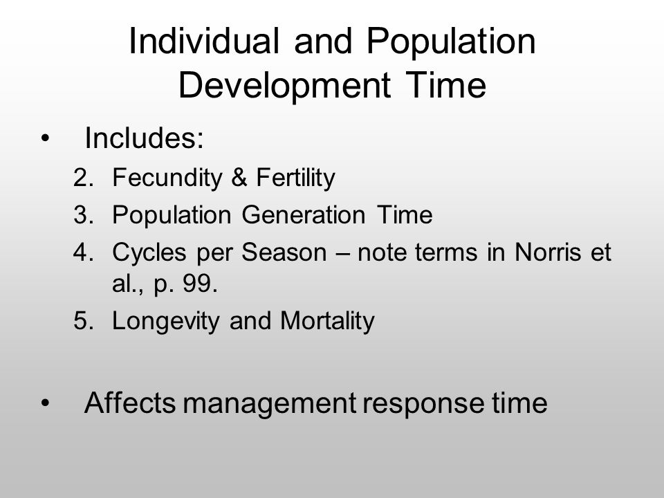 Individual and Population Development Time