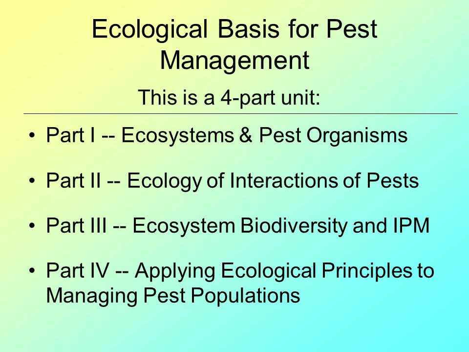 Ecological Basis for Pest Management