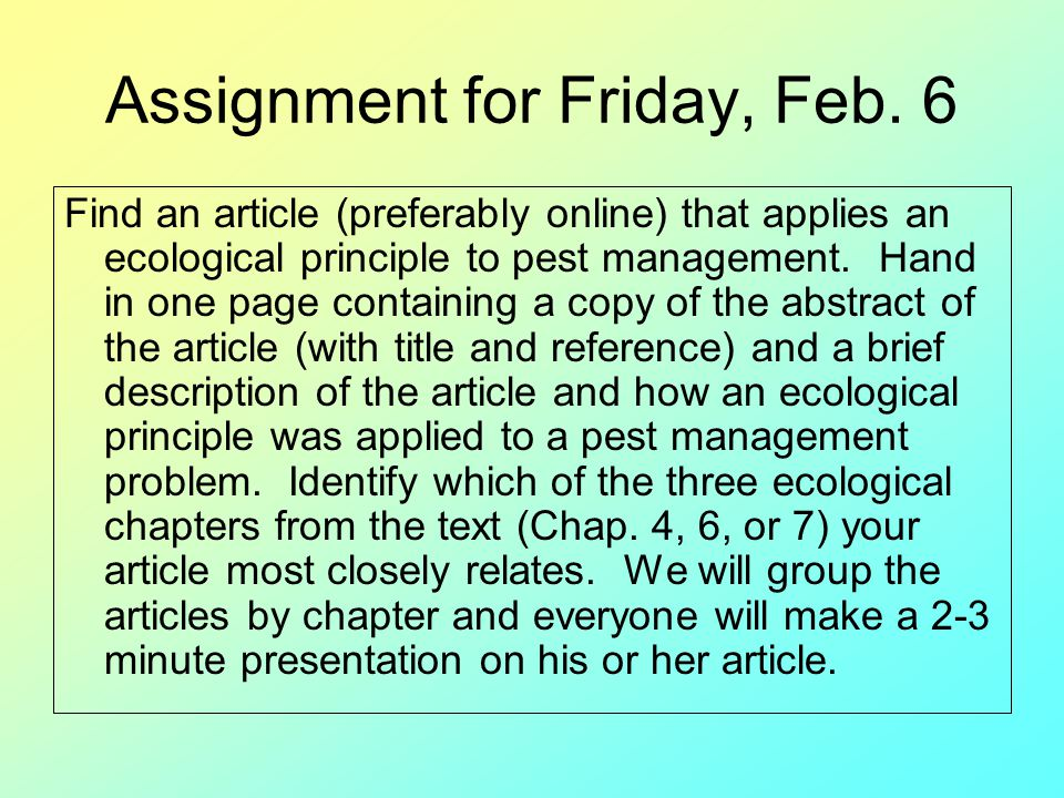Assignment for Friday, Feb. 6