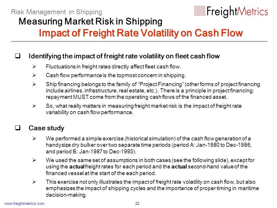 Case study: impact of freight rate volatility on fleet cash flow