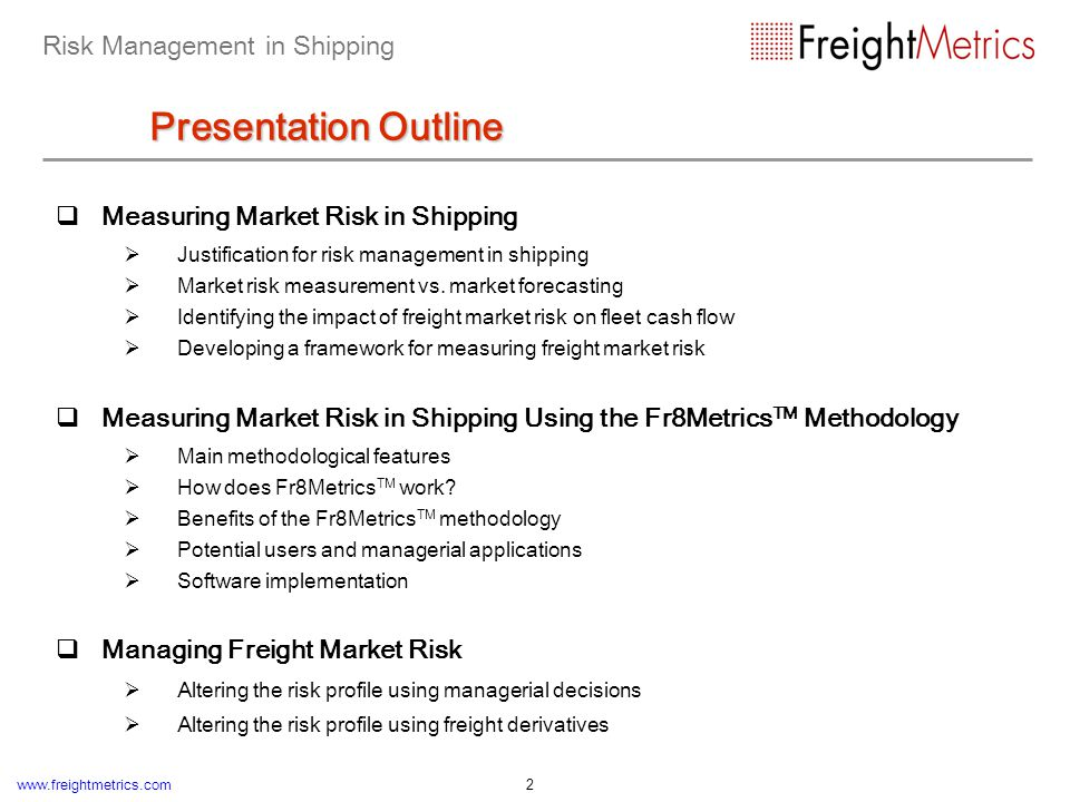 Risk Management in Shipping Introduction About This Presentation
