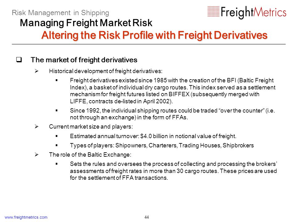 Fundamentals of freight derivatives trading