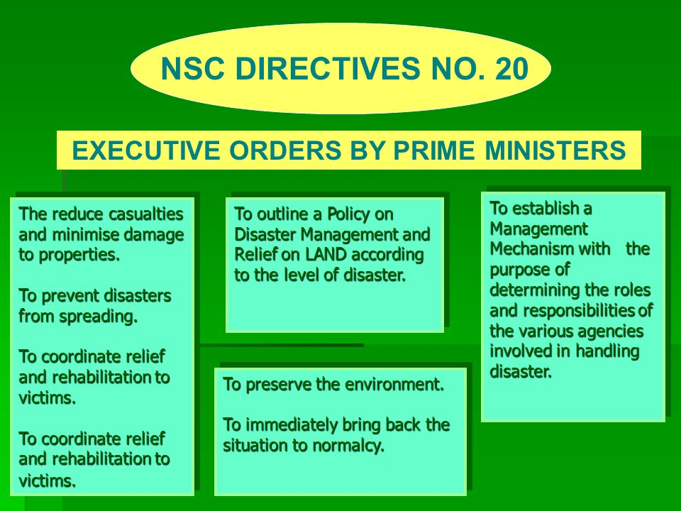 EXECUTIVE ORDERS BY PRIME MINISTERS