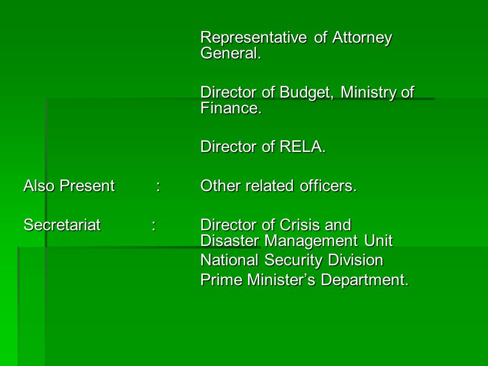 Representative of Attorney General.