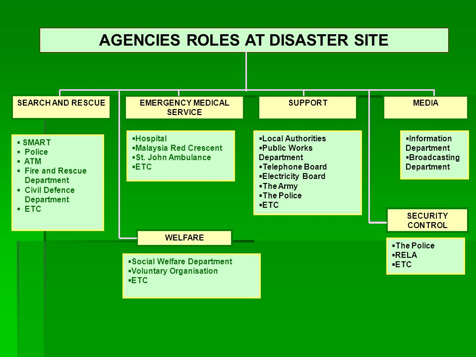 AGENCIES ROLES AT DISASTER SITE EMERGENCY MEDICAL SERVICE