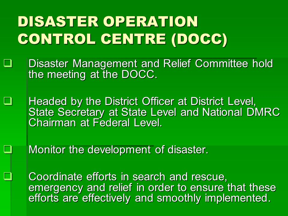 DISASTER OPERATION CONTROL CENTRE (DOCC)