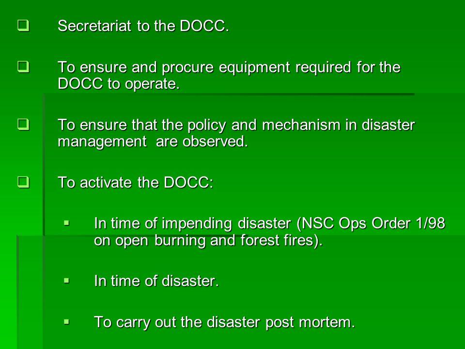 Secretariat to the DOCC.