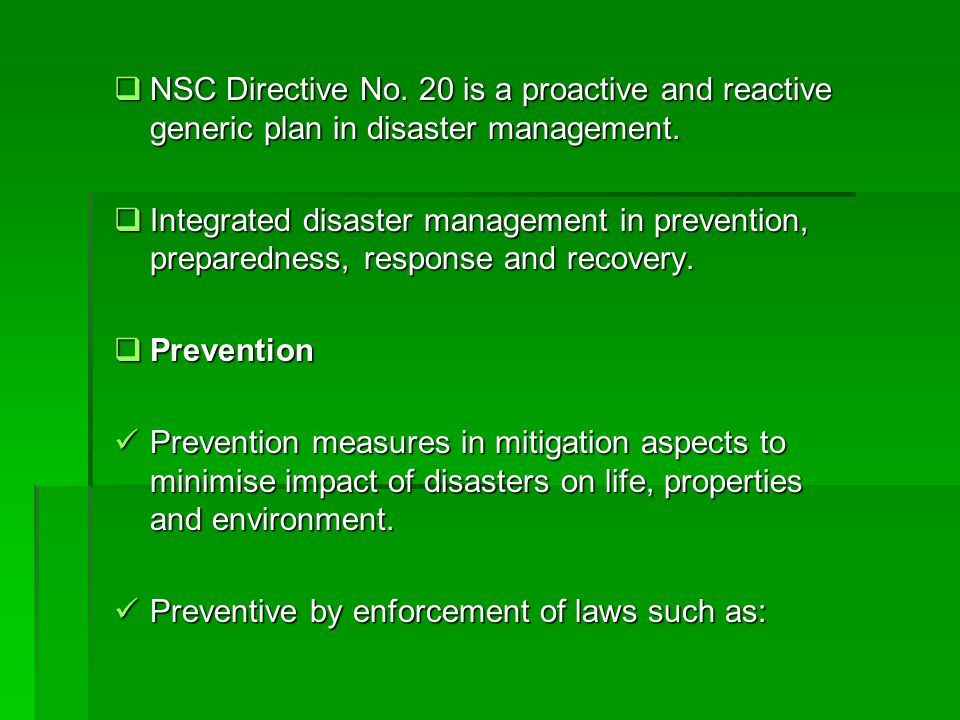 NSC Directive No. 20 is a proactive and reactive generic plan in disaster management.