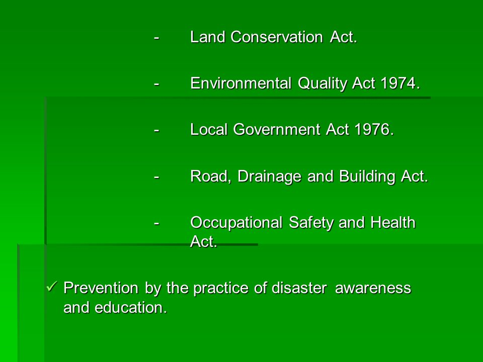- Land Conservation Act.