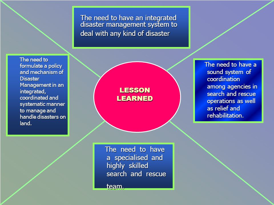The need to have an integrated disaster management system to deal with any kind of disaster