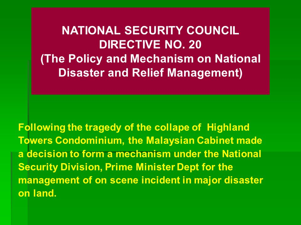 NATIONAL SECURITY COUNCIL DIRECTIVE NO. 20