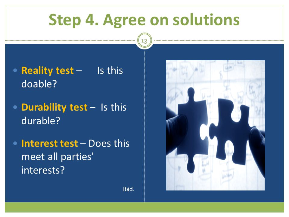 Step 4. Agree on solutions