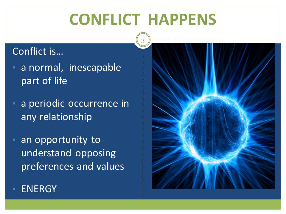 CONFLICT HAPPENS Conflict is… a normal, inescapable part of life