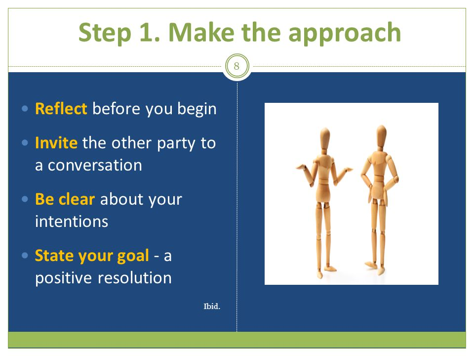 Step 1. Make the approach Reflect before you begin