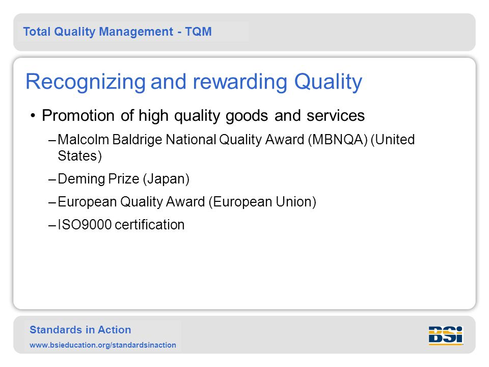 Recognizing and rewarding Quality