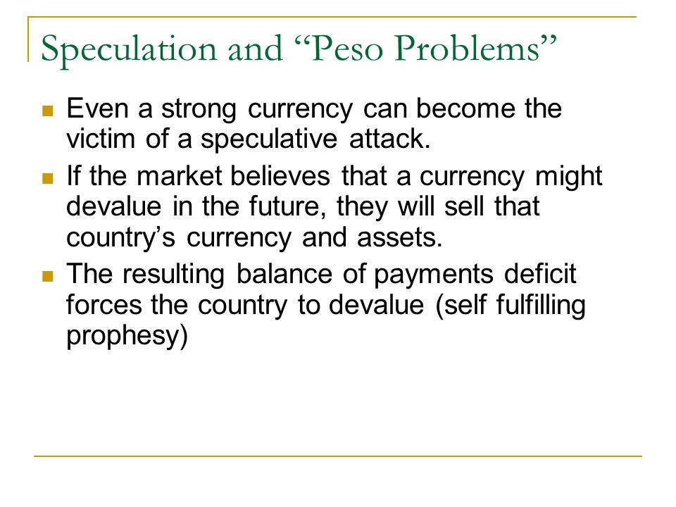 Speculation and Peso Problems