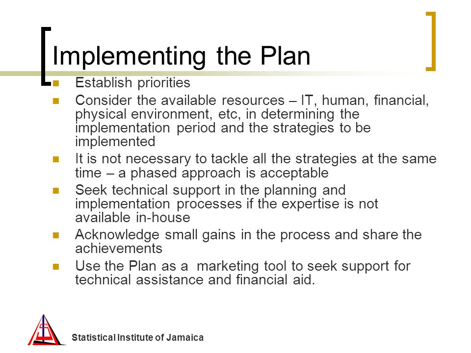 Implementing the Plan Establish priorities