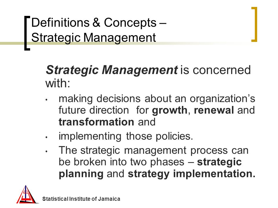 Definitions & Concepts – Strategic Management