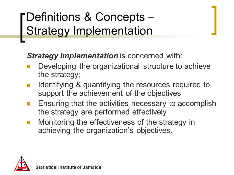 Definitions & Concepts – Strategy Implementation
