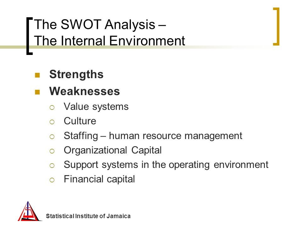 The SWOT Analysis – The Internal Environment