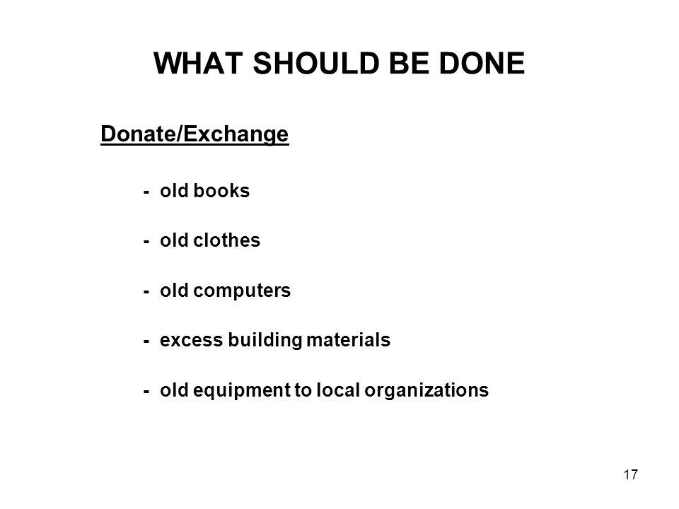 WHAT SHOULD BE DONE Donate/Exchange - old clothes - old computers