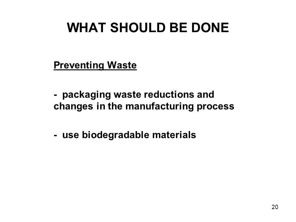 WHAT SHOULD BE DONE Preventing Waste