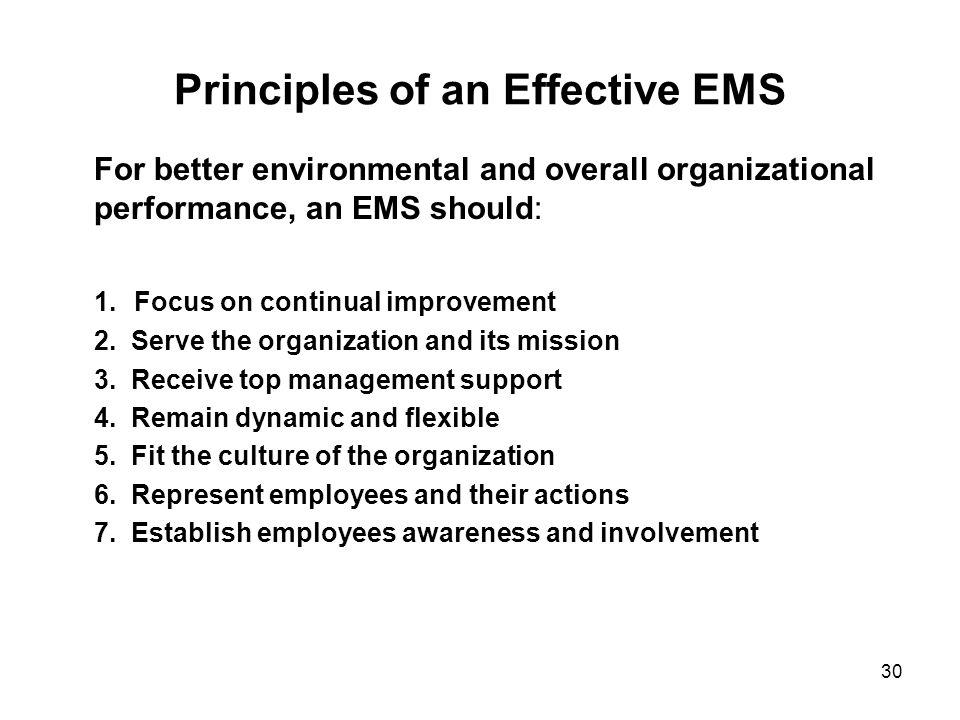 Principles of an Effective EMS