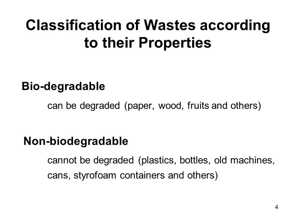 Classification of Wastes according to their Properties