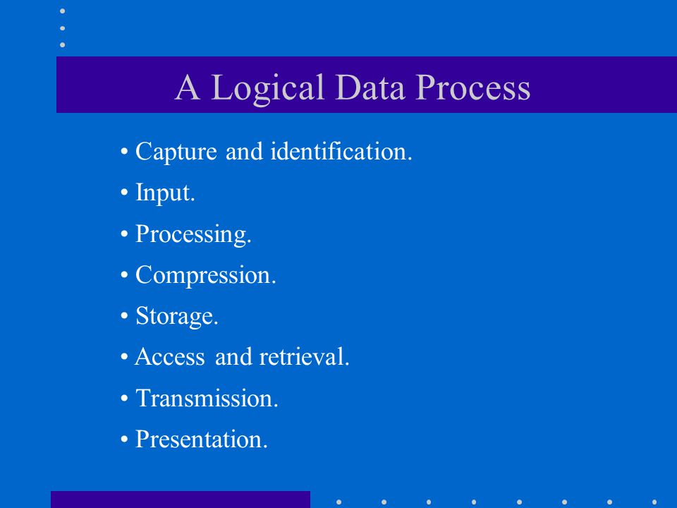 A Logical Data Process Capture and identification. Input. Processing.