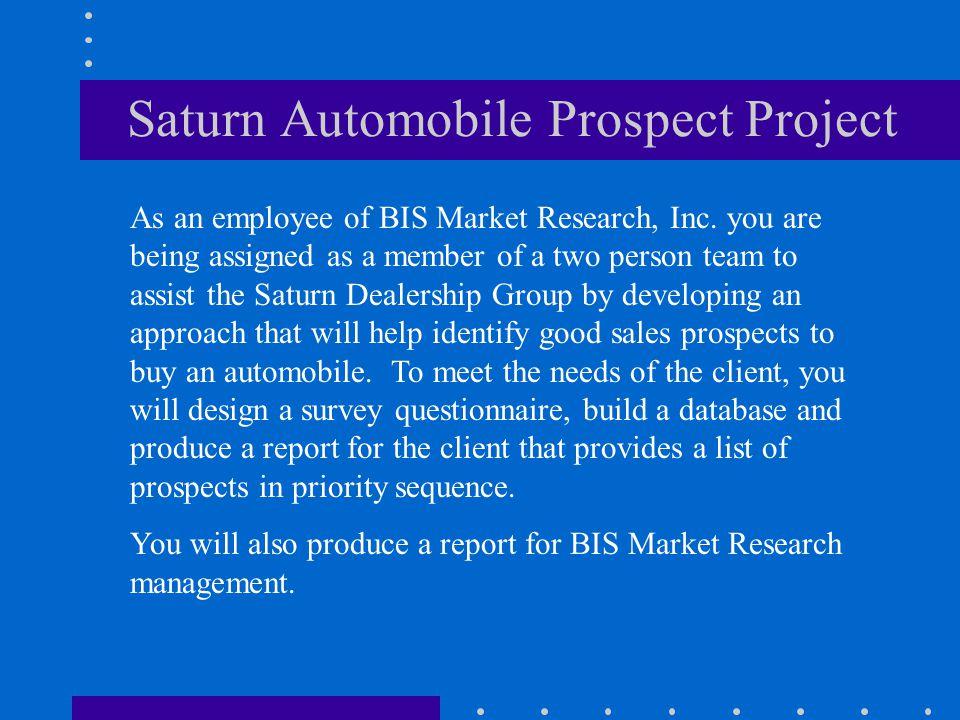 Saturn Automobile Prospect Project